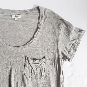 Madewell Anthem Gray Scoop Neck Pocket Tee L